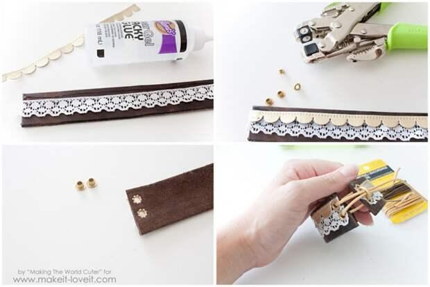 Стильные браслеты из кожаных ремней