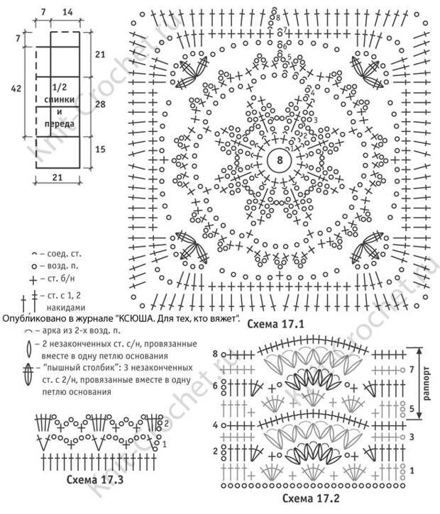 Выкройка, схемы узоров с описанием вязания крючком туники из квадратных мотивов размера 42-44.