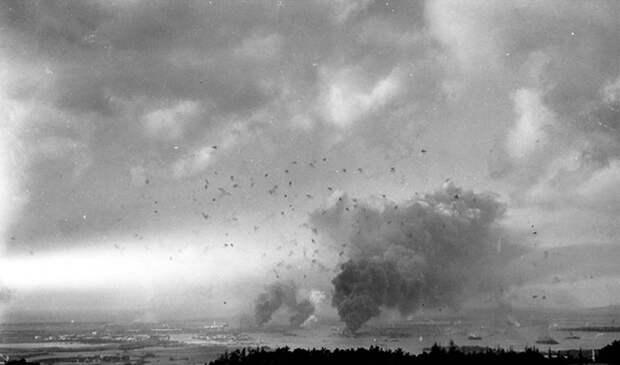7. Вид на Перл-Харбор. Остров Оаху. Гавайские острова. США. 7 декабря 1941 года. интересное, исторические фото, история, фото