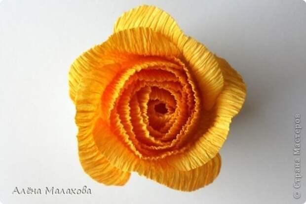 Мастер-класс Роза из гофрированной бумаги Бумага гофрированная Клей фото 23