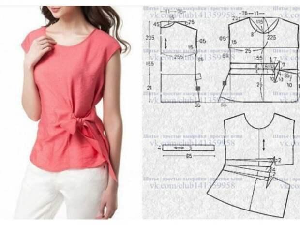 Выкройка полуприталенной блузки