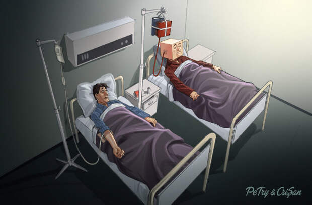 Иллюстрации, высмеивающие реалии современного общества