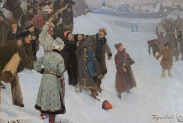 Б. Кустодиев. Кулачный бой на Москва-реке, 1897