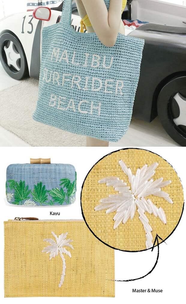 вышивки на соломенных сумках
