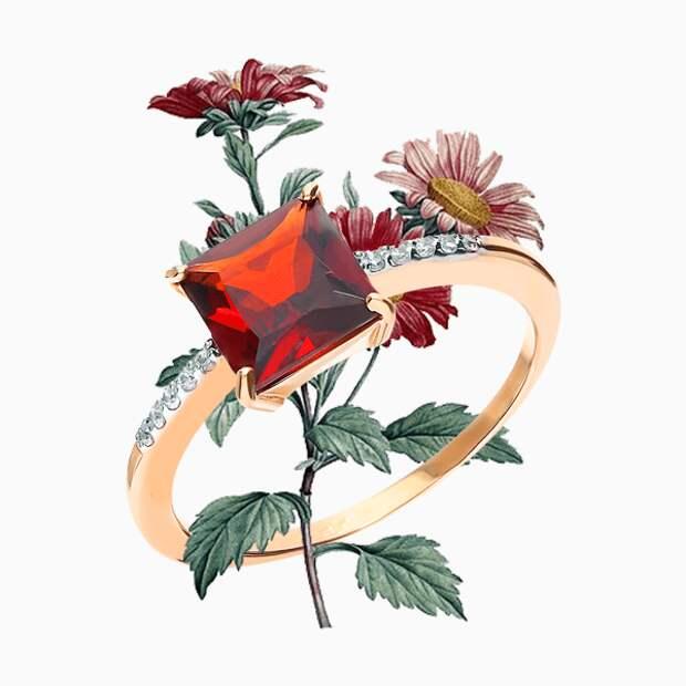 Кольцо «Ювелирные традиции», розовое золото, гранат