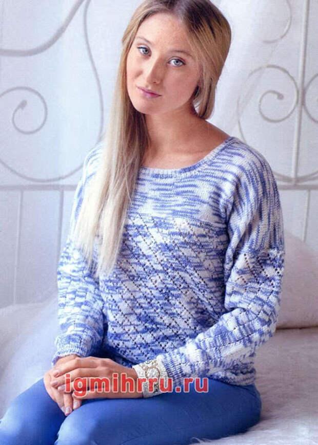 Пуловер  из пряжи секционного крашения с ажурным узором