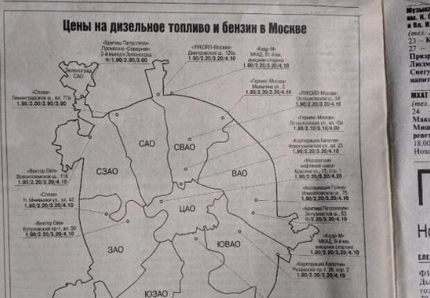 Давайте вспомним, какие цены на бензин в Москве были в 1999 году