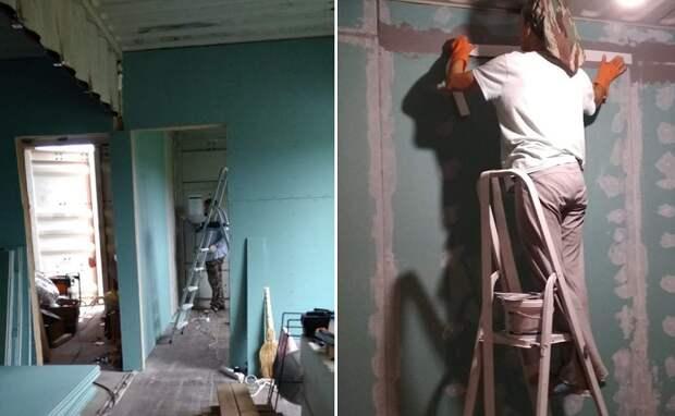 Внутренняя отделка стен контейнерного дома. | Фото: pro-remont.mediasalt.ru.