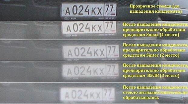 Увеличенные фрагменты фотоснимков, сделанных через ветровое стекло для визуального сопоставления результатов действия антизапотевателей