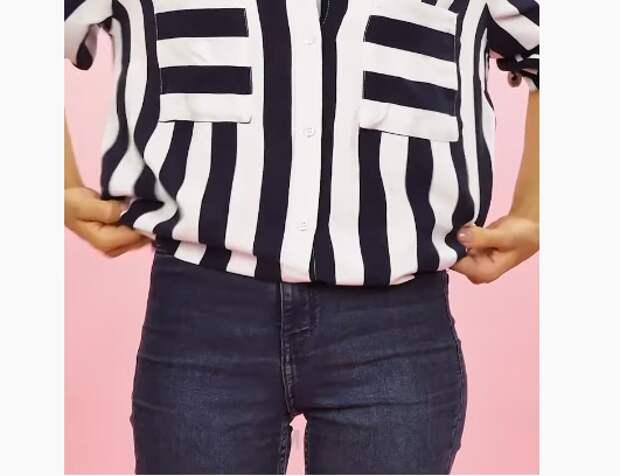 Переделка широкой блузки (DIY)