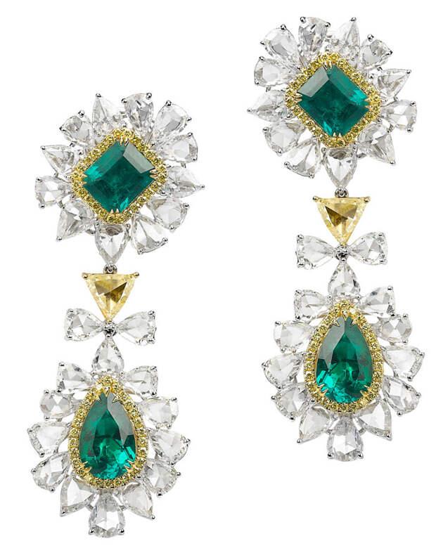 Avakian Diamond and emerald earrings