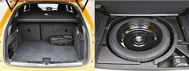 Багажник Q3 – почти как у Эвока: правильной формы, с транспортировочными аксессуарами. Но объем тоже маловат. В подполье кроме докатки – емкости для мелочовки.