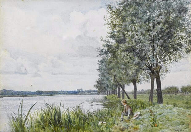 Мальчик рыбачит у реки (A young boy fishing by a river). 1880 (656x453, 334Kb)