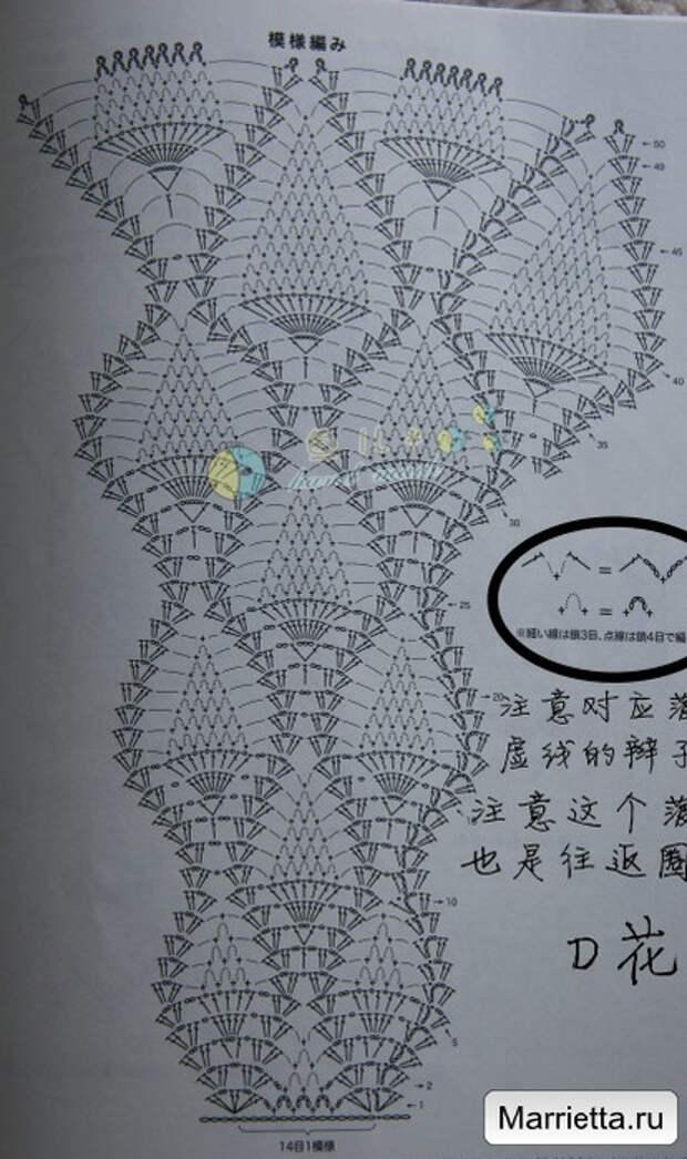 Летнее кружевное платье крючком узором ананас (1) (414x700, 270Kb)
