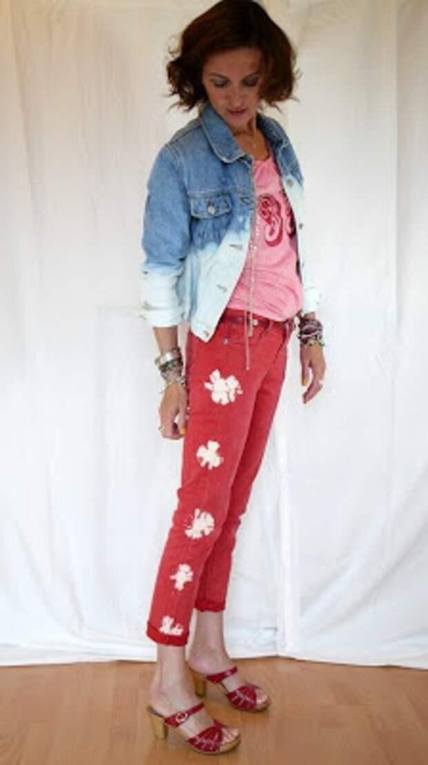 рисунок на джинсах своими руками