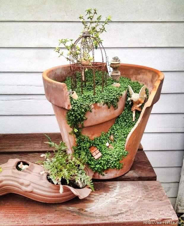 Миниатюрный сад из цветочного горшка. Идеи (4) (570x700, 332Kb)