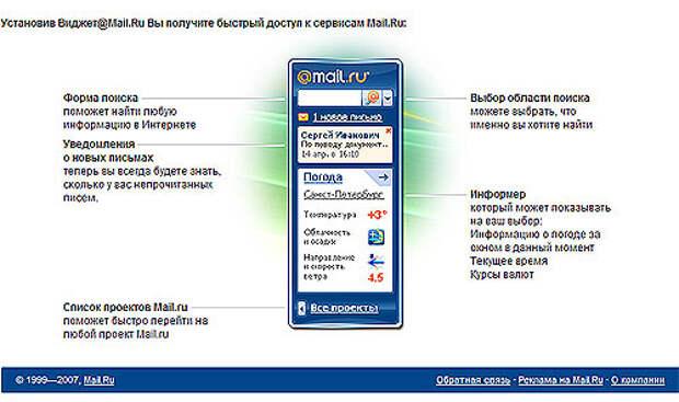 Mail.Ru создал Виджет для Windows Vista