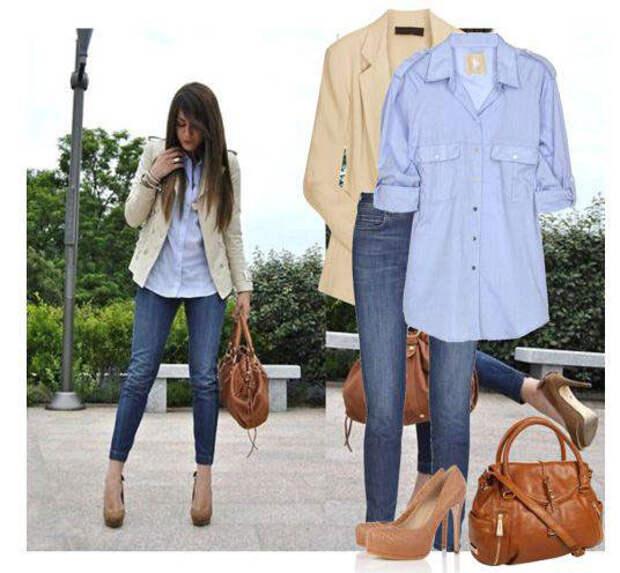 Как сочетать женский пиджак и джинсы