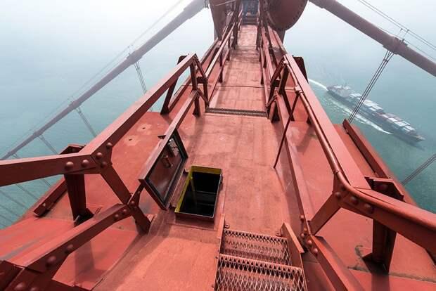 """на вершине мира: замечательные фотографии с высоты моста """"Золотые Ворота"""""""