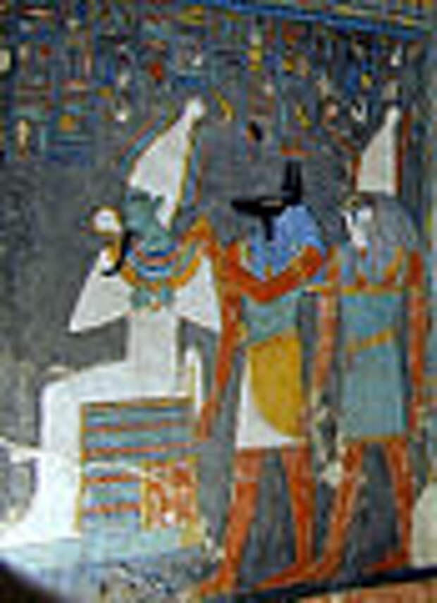 Боги Осирис, Анубис и Хор. Деталь росписи в гробнице фараона Хоремхеба. XIII в. до н. э.