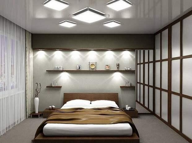 Спальня без окон дизайн, освещение