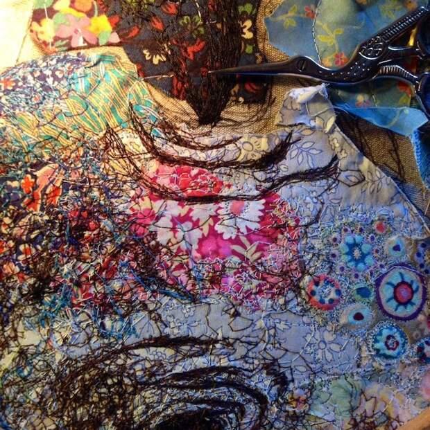Вместо красок... ткань! Коллажи Софи Стэндинг