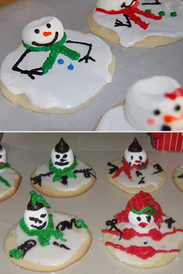 """Печенье """"Растаявший снеговик"""" еда, ожидание, провал, реальность"""