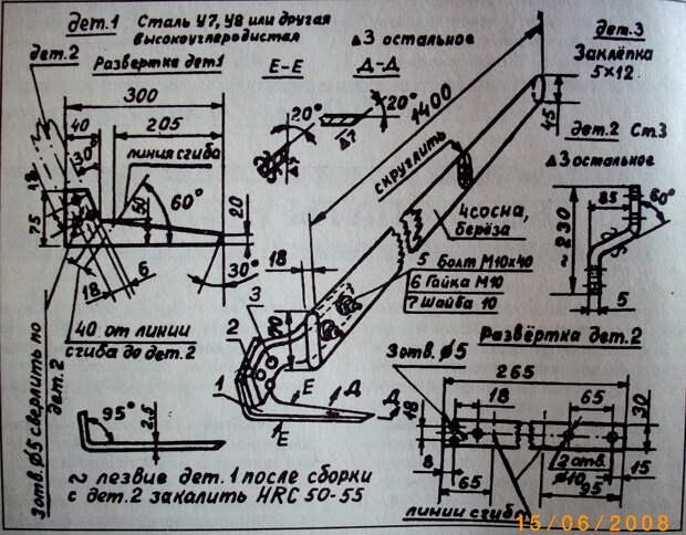 Плоскорез Фокина чертеж