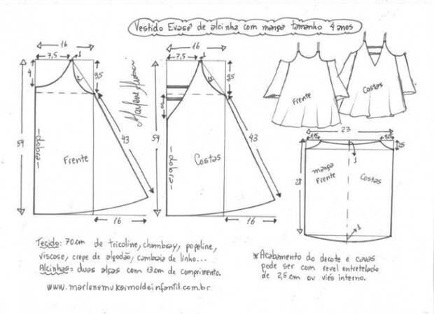 Выкройка нарядного детского платья