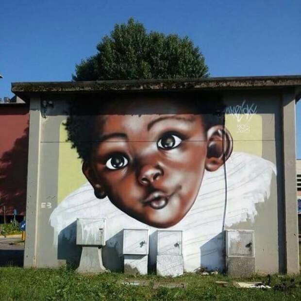 Граффити лицо мальчика