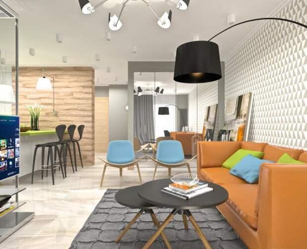 Дизайн-интерьера квартиры-студии, современный стиль в интерьере, оранжевый диван