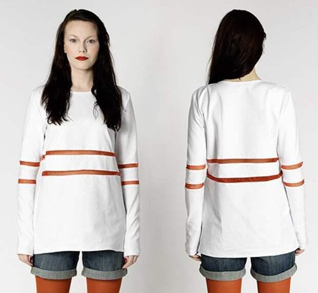 Прозрачные вставки на футболке с рукавами