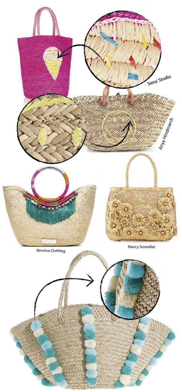 Подборка идей вышивки на соломенных сумках