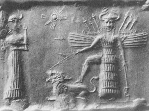 Ancient Akkadian Cylindrical Seal Depicting Inanna and Ninshubur.jpg