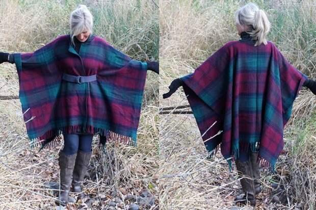 Пальто из шерстяного пледа (Diy)