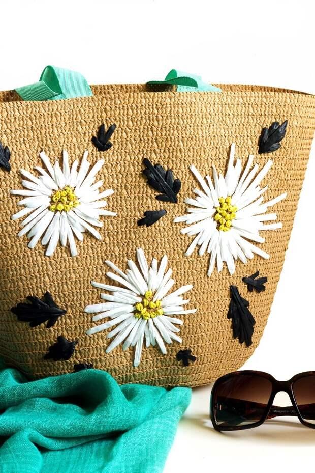Вышивка на соломенной сумке (DIY)
