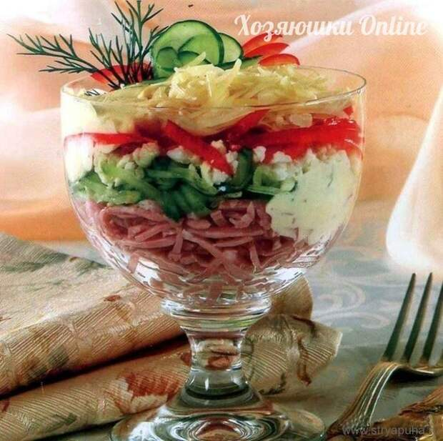 Салат-коктейль с ветчиной и сыром
