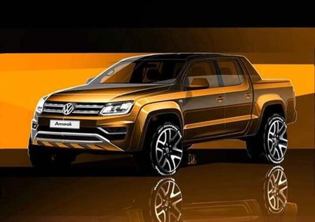 Volkswagen обнародовал скетчи обновленного пикапа Amarok