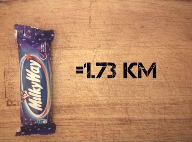 Одна шоколадка МилкиВэй бег, еда, каллории