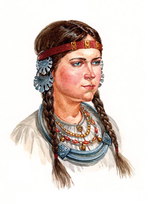 Девушка вятичей в уборе, с височными кольцами и шейной гривной.  По материалам курганов вятичей, конца XI - XII вв.