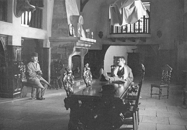 В. Соломин, Е. Стеблов и Н. Михалков на съёмках «Собаки Баскервилей», 1981 год
