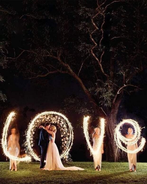 Свадебное фото на длинной выдержке
