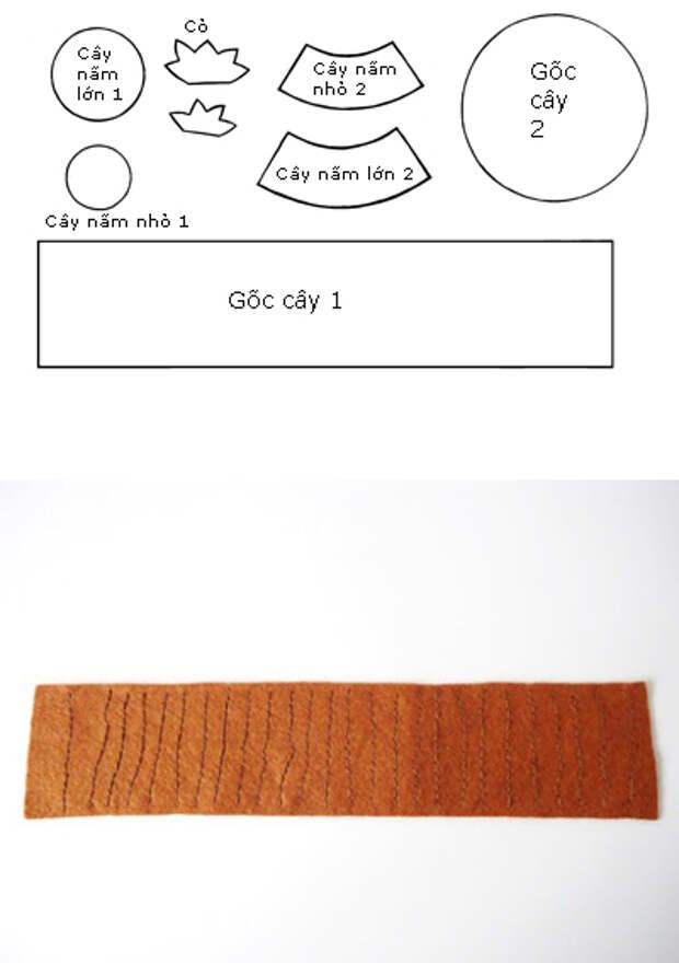 Игольница из фетра - пенек с грибочками (1) (400x568, 103Kb)