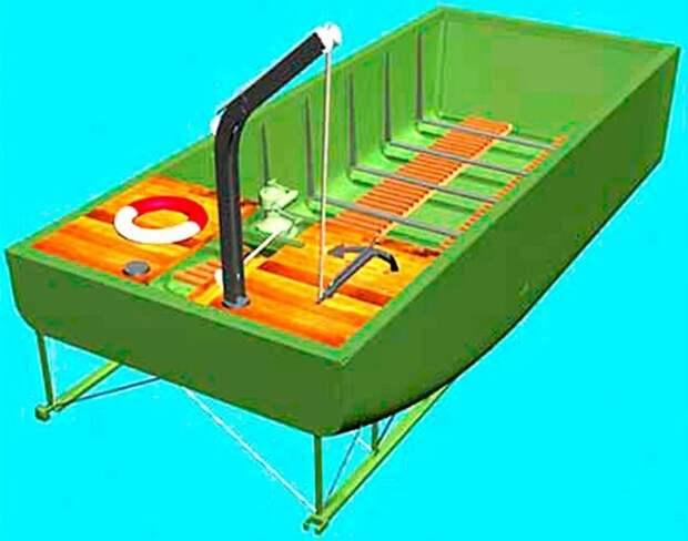 Эскиз среднего полупонтона с соединительной фермой на днище авто, автоистория, военная техника, история, переправа, понтон, понтонно-мостовая переправа