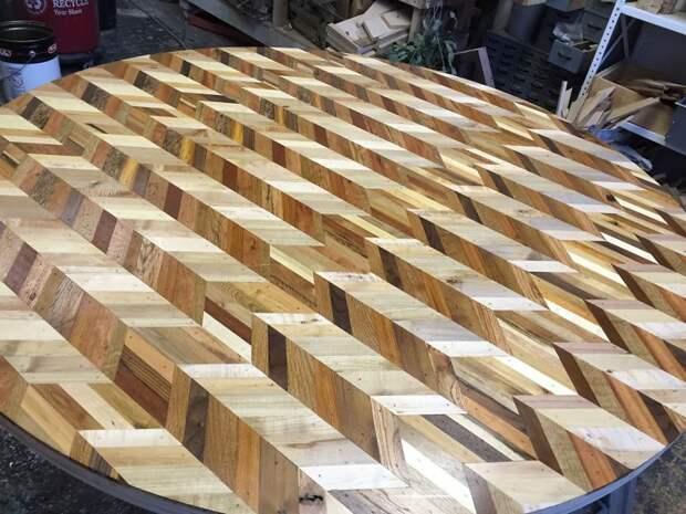 Мозаичные столешницы из старых досок доски, своими руками, столешница