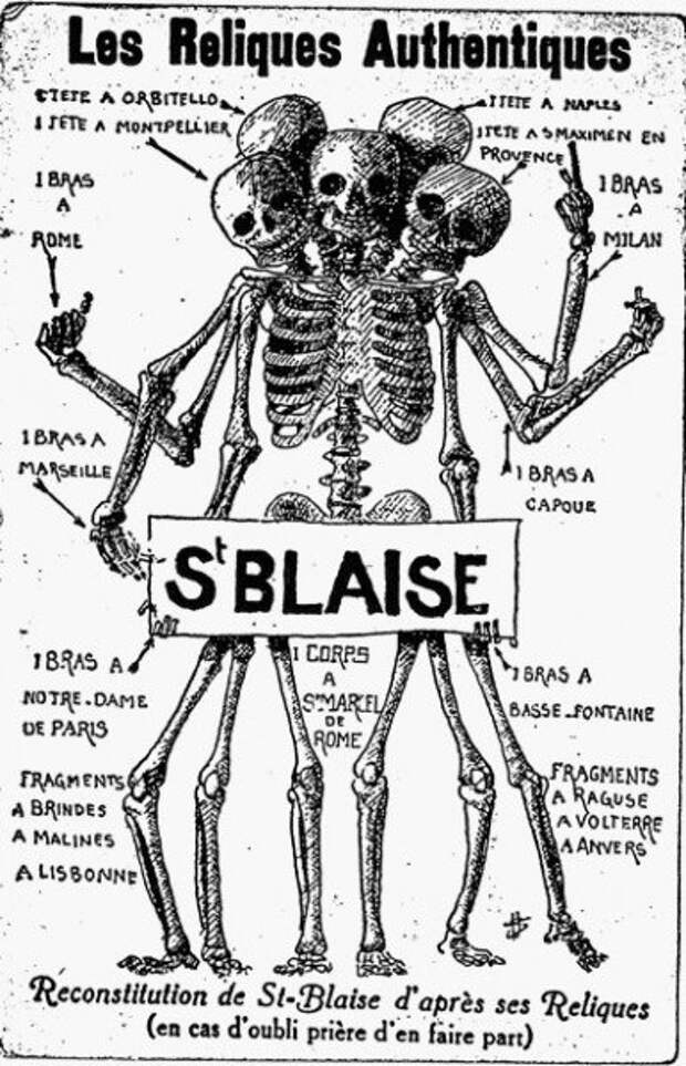 Как будет выглядеть скелет святого Власия, если собрать его реликвии со всей Европы