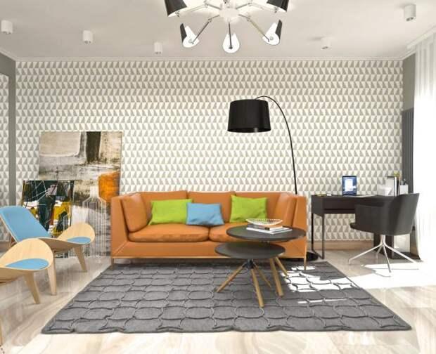 Дизайн-интерьера квартиры-студии, современный стиль в интерьере, оранжевый диван с яркими подушками, дизайнерский напольный светильник