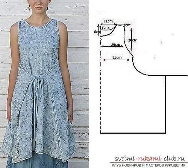 Бохо платье изо льна - выкройки