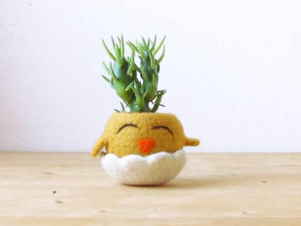 Войлочные цветочные горшки