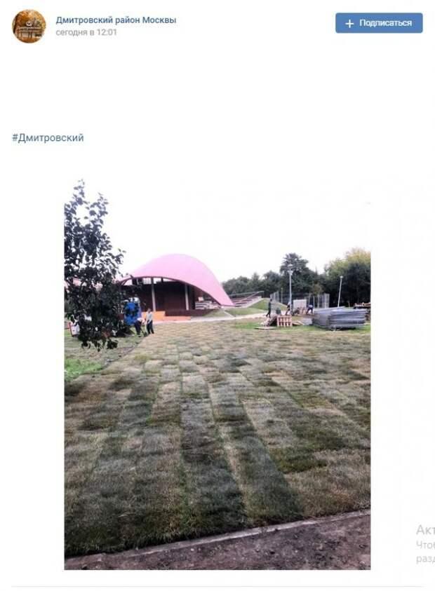 Фото дня: рулонный газон появился в парке «Ангарские пруды»
